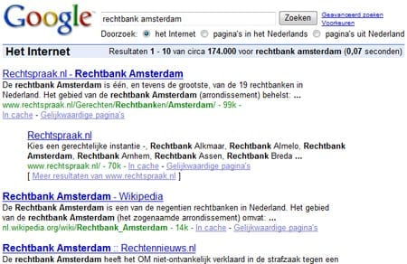 Google-resultaat voor 'rechtbank amsterdam'