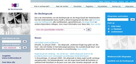 Homepage van Rechtspraak.nl