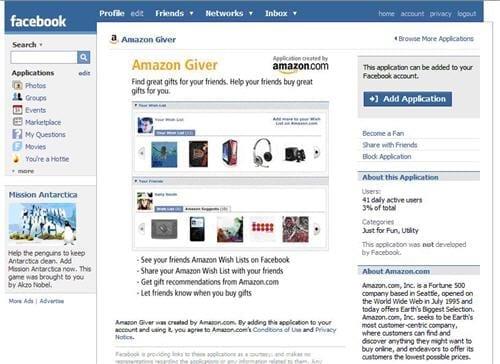 Amazon giver, een applicatie van Amazon op Facebook
