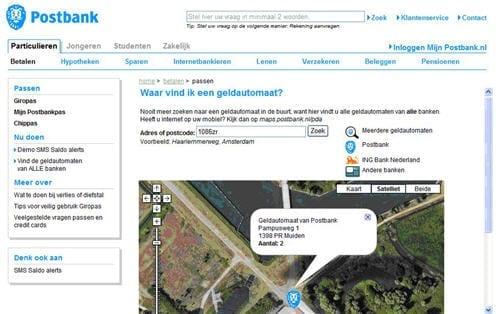 Mashup van Postbank: Geldautomaten zichtbaar binnen Google Maps
