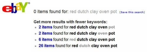 Illustratie: eBay biedt alternatieven als een zoekopdracht met meerdere woorden geen exacte resultaten oplevert