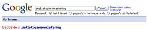 Illustratie: Google geeft een verbetersuggestie wanneer er sprake lijkt van een spelfout in de zoekterm