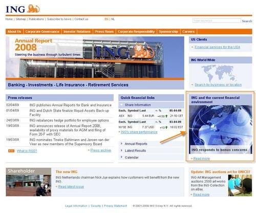 ING biedt pro-actief informatie over de recente financiële crisis en het beleid van ING