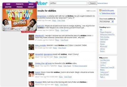 De website van Skittles met alle 'tweets' over Skittles gepresenteerd