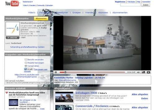 Het Youtube kanaal van de Koninklijke Marine voor recruitment