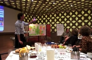 Harry Verwayen (Kennisland) licht het Business Model Canvas toe tijdens het Mediapark Jaarcongres