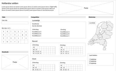 Hierboven ziet u een voorbeeld van een Wireframe in Adobe Indesign