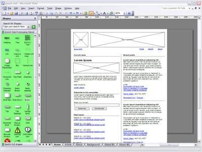 Hierboven ziet u een voorbeeld van een Wireframe in Microsoft Visio