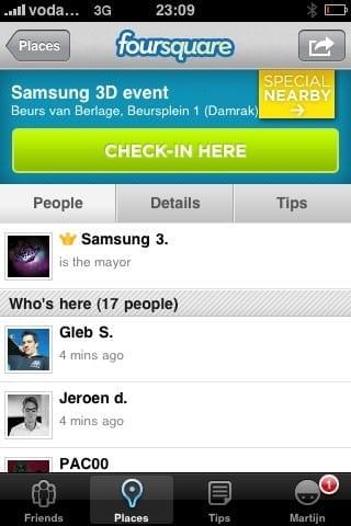 Foursquare op de iPhone