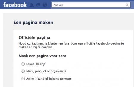 fanpagina Facebook maken