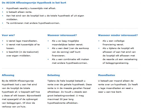 Een voorbeeld van gebruik van tussenkoppen op AEGON.nl