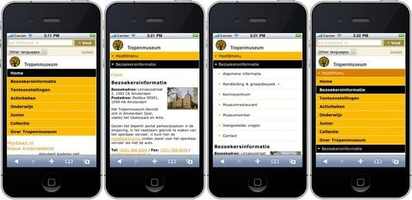 De navigatie van de website van het Tropenmuseum op een iPhone