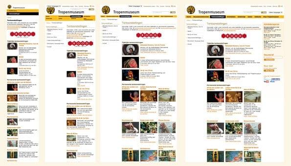 De vier verschillende layouts van het tropenmuseum