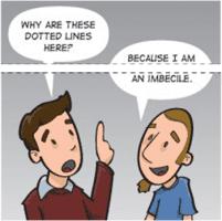 Een cartoon over responsive design en content-'mutilatie'