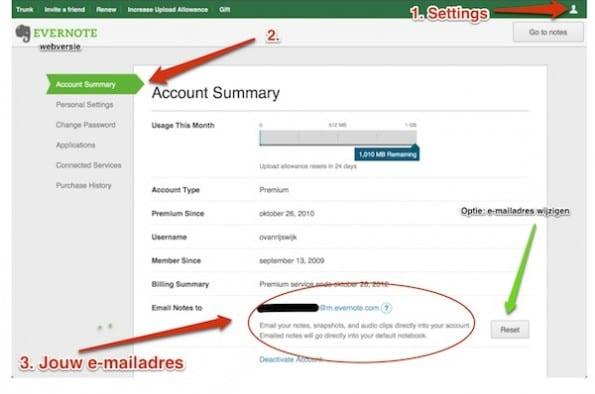 e-mails naar evernote met je eigen e-mailadres