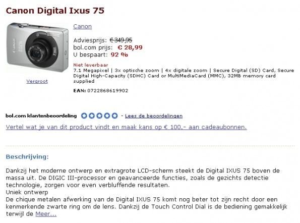 Canon Digital Ixus 75 92% korting