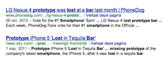 "Zoekresultaat in Google van ""lost smartphone bar"""
