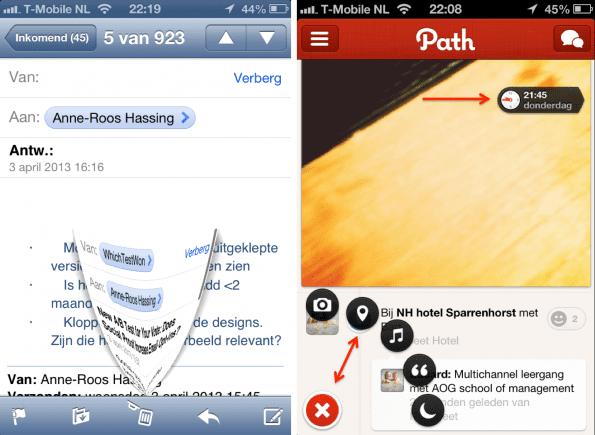 Micro interacties - deleten van een email en bij Path het plusje en meelopende klokje