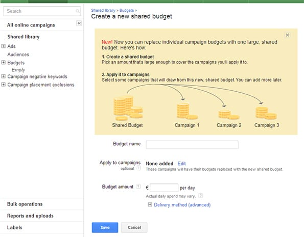 shared budget Google Adwords