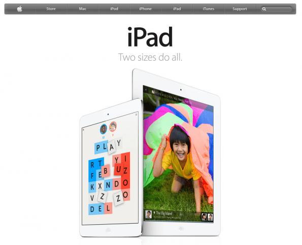 Apple homepage, waarbij optimaal gebruik wordt gemaakt van whitespace om visuele aandacht naar de iPads te sturen.