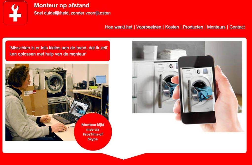 Monteur op afstand videobellen met een witgoedmonteur for Monteur de stand