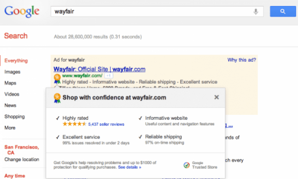 google trusted store wayfair