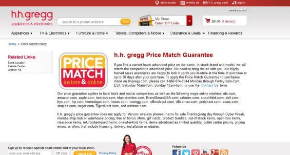 H.h.gregg biedt een Price Match Guarantee van dertig dagen