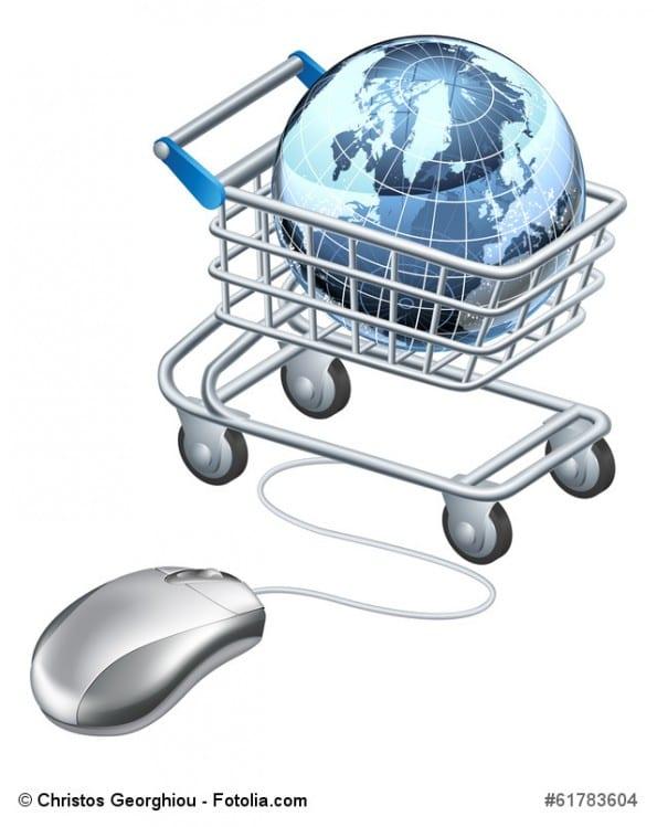 Globe computer mouse shopping cart