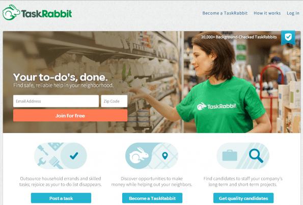 Taskrabbit maakt het mogelijk je taken (zoals het doen van boodschappen of de was strijken) uit te besteden aan mensen in de buurt.