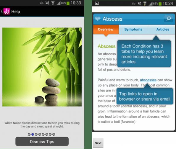 Twee voorbeelden van de schermen van White Noise Lite en WebMD, waarbij de eerste foto vooral een impressiefoto is en de tweede meer betrekking heeft op verschillende functionaliteiten. De usability test laat zien dat deelnemers de voorkeur hebben voor de rechter afbeelding.