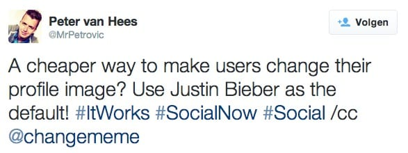 #SocialNow take Justin Bieber as a profile picture to drive adoption