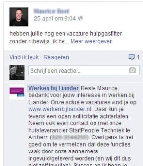 Liander reageert snel en goed op recruitment vragen die via Facebook worden gesteld