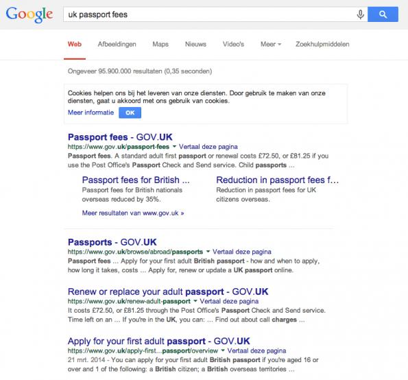 Schermafdruk van de Google-zoekresultaatpagina waarop direct de prijs van een Brits paspoort te zien is.