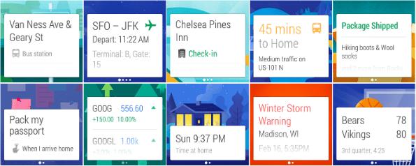 Google Now lijkt uitermate geschikt om getoond te worden op je pols. Context gedreven content op het juiste moment tonen aan de gebruiker.