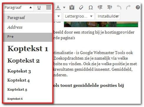 Tussenkoppen opgeven in WordPress.