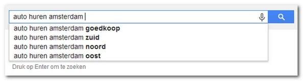 Zoekwoorden vinden met Google Suggest.