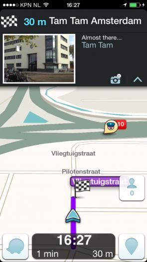 Waze screenshot Tam Tam Amsterdam