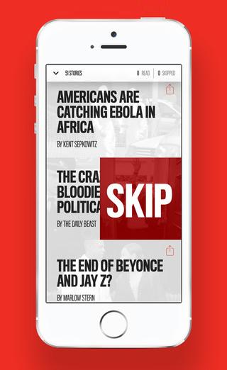 'Tinder voor nieuws' app van The Daily Beast, die personaliseert op basis van wat je niet wilt lezen.