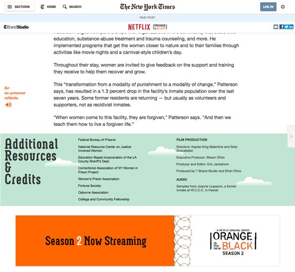 De promotionele boodschap van de adverteerder staat bij de New York Times onderaan het artikel.