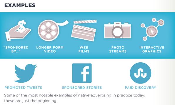 Verschillende categorieën native advertising (klik voor complete infographic).