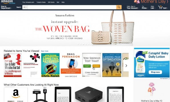 Amazon home page in 2015