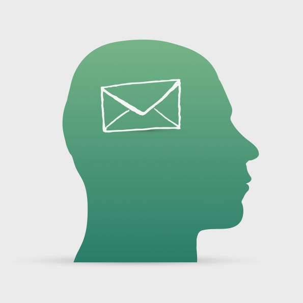 Human head with hand drawn letter icon