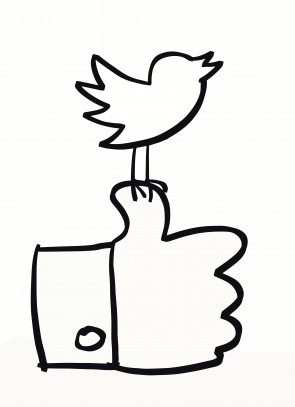 Hand drawn social media icons in black & white