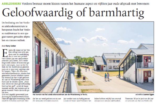 In Dagblad De Limburger deelde het college haar dilemma bij de vluchtelingenopvang