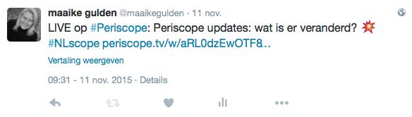 periscope uitzending delen op Twitter