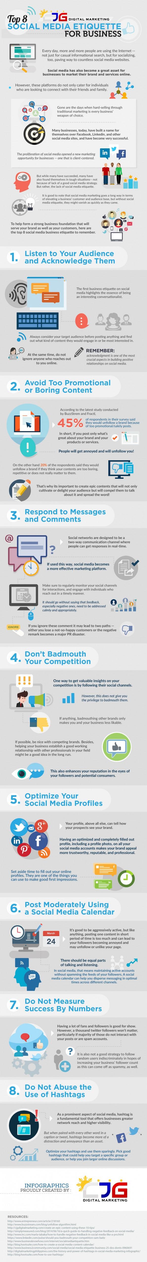 etiquette voor zakelijk social mediagebruik - 8 tips - infographic
