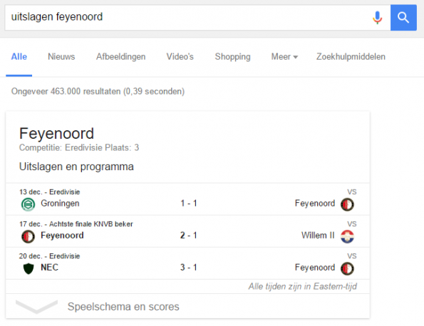 Voorbeeld featured snippet in Google.nl