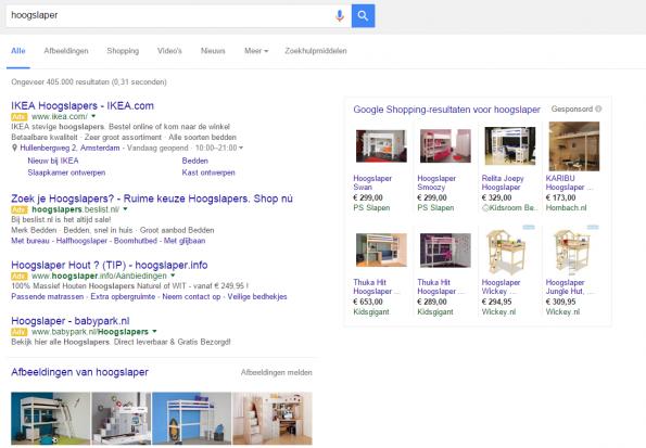 Afbeeldingen in Google resultaten
