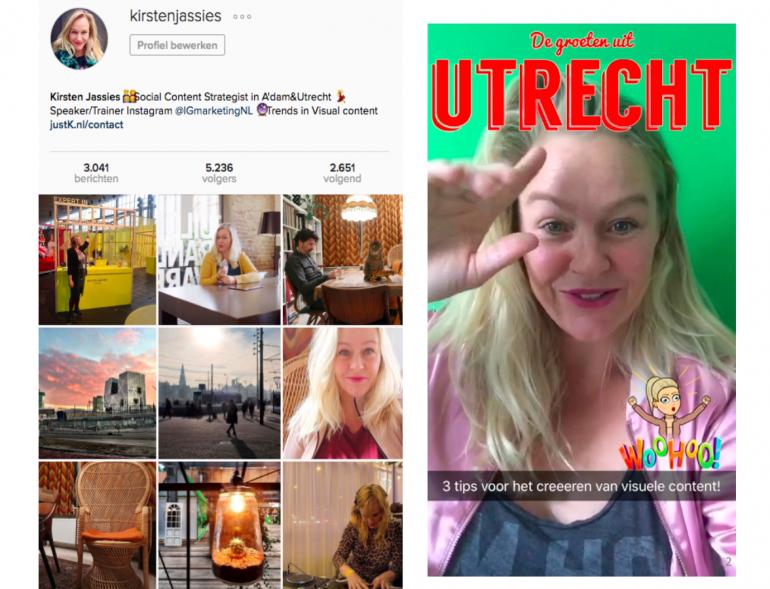Kirsten Jassies op Instagram en Snapchat
